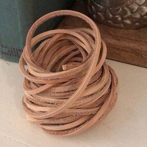 Jewelry - 6 yards Cream 4mm Genuine Leather Strap Cord